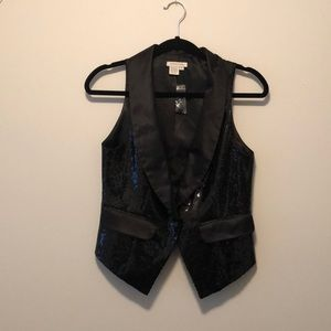 Boston Proper Black Sequin Formal Vest Size 2